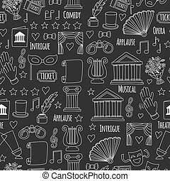 Seamless pattern Theatre set Vector illustration Sketchy...