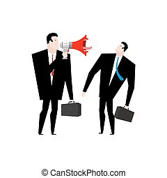 Boss screams megaphone to manager. To give orders. Businessman screaming at an employee