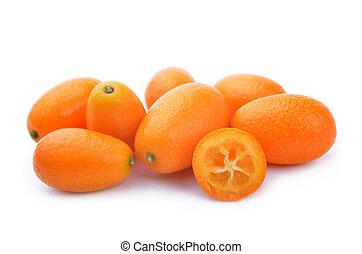 Fresh kumquat fruit isolated on a white background.
