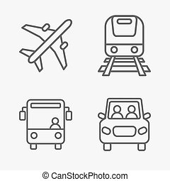 Set of transport related vector icons