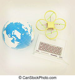 Drone or quadrocopter with camera with laptop. Network,...