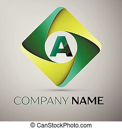 A letter colorful logo in the rhombus. Vector template for your design