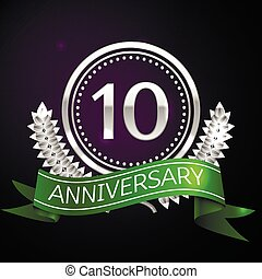 Ten years anniversary celebration with silver ring and...
