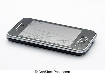 Black smartphone with cracked screen isolated on white...