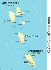 Guadeloupe, Dominica and Martinique political map with...