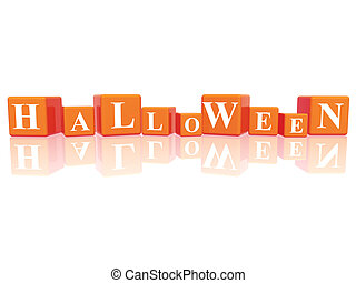 Halloween in 3d cubes - 3d orange cubes with letters makes...