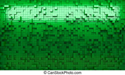 3d rendering wall of extruded cubes