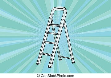 Aluminum ladder for repairs in the house. Pop art retro...