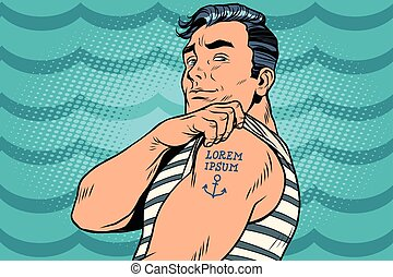 Sailor with Lorem ipsum tattoo on hand. Pop art retro comic...