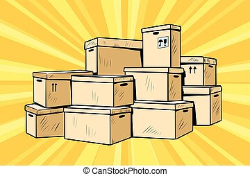 Cardboard boxes for packaging. Pop art retro comic book...