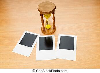 pillanat, óra, Fénykép, fából való, pohár, tiszta, asztal