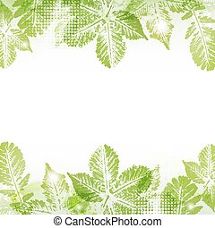 Spring leaves background - Abstract spring leaves imprints...