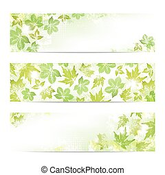 Spring leaves banners - Abstract spring leaves imprints...