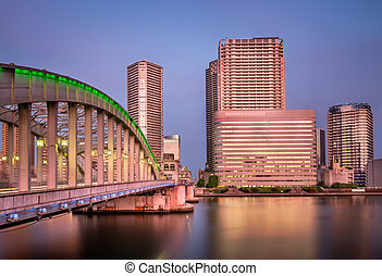 Kachidoki Bridge and Sumida River in the Evening, Tokyo,...