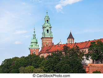 Wawel Castle from the Vistula River in the daytime. Cracow, Poland.