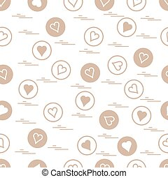 Cute seamless pattern with hearts in circles.