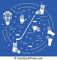 Vector illustration of various subjects for hockey and snowboarding arranged. Including icons of helmet, gloves, hockey stick, puck, socks, snowboard boots.