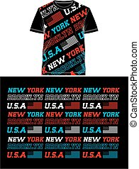 Typography USA Flag T Shirt Print, Vector.