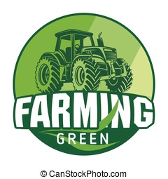 Organic Farming sign Eco Tractor Creative - Farming sign...