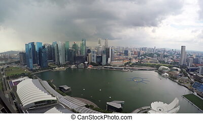 Dramatic Cityscape from atop Marina Bay Sands Resort in...