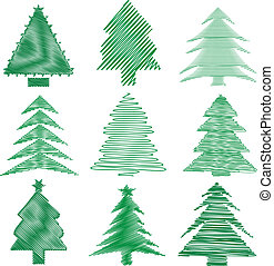 Scribble christmas trees