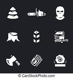 Vector Set of Illegal logging Icons. - Forest, chainsaw,...