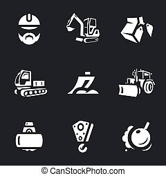 Vector Set of Construction machinery Icons. - Builder,...