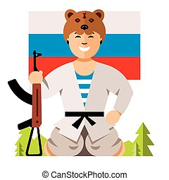 Vector Russian Soldier Humor Concept. Flat style colorful...