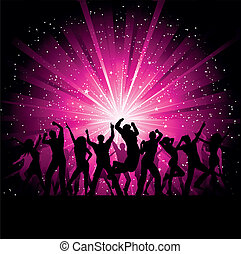 Party people background - Silhoeuttes of people dancing on a...