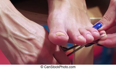 Circumcision of nails on legs - Pedicure on legs and cuticle...