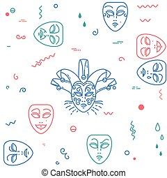 Carnival, theater masks pattern.