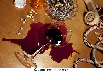 Drugs, Alcohol, Depression, Suicide - Spilled wine and pills...