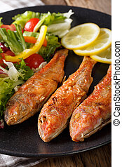 Roasted red mullet with fresh vegetables and lemon close-up....