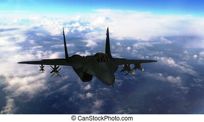 Stealth jet aircraft flying above clouds closeup