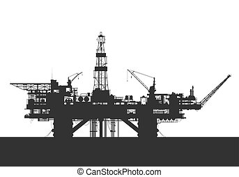 Sea oil rig. Oil drilling platform silhouette. Detail vector...
