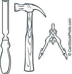 Isolated Hand Tools Chisel, Hummer and Compass. Vector...