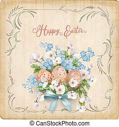 Happy Easter Card. Vector vintage postcard with spring...