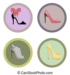 Glamorous High-Heeled Shoes Illustrations Set