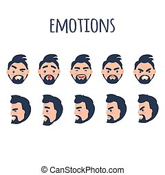 Male Facial Emotions Vector Collection on White - Male...
