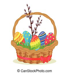 Colorful Eggs, Brench of Willow in Wicker Basket - Colorful...