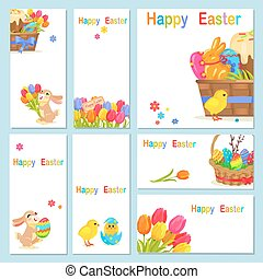 Concept of Happy Easter Chicken Flowers Bunny