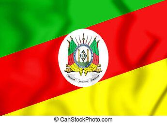 3D Flag of Rio Grande do Sul, Brazil. 3D Illustration.