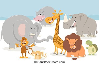 safari cartoon animal characters