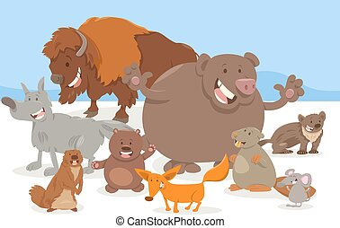 wild animal characters cartoon - Cartoon Illustration of...