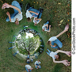 360x180 Stereographic Panorama with Clones - A 360x180...
