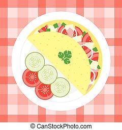 Omelette with vegetables. flat design