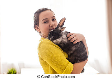 Girl with her favorite pet