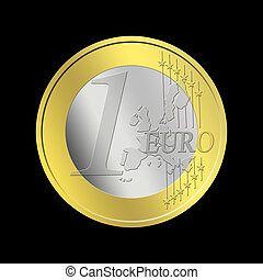 One Euro Coin - Euro Coin Isolated on Black background