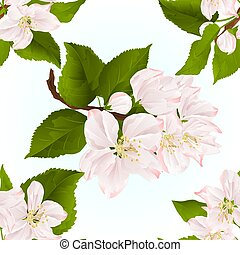Seamless texture Apple blossom twigs with leaves vintage...
