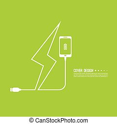 Abstract background with charge mobile phones. usb cable is...